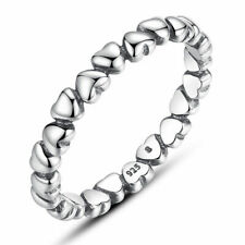 European Authentic High Silver Love Heart Finger Rings For Women Fashion Jewelry