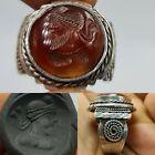 Wonderful Silver  Ring sassanian  agate intaglio stone rare Ring   1