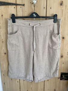 Ladies Beige Linen Mix Shorts Size 18