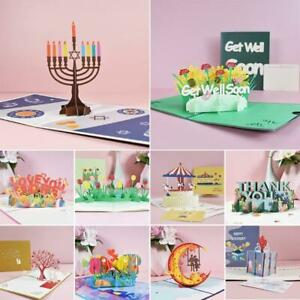 3D Get Well Soon Card Pop-Up Flowers Greeting Card Sympathy Mothers Day Wedding
