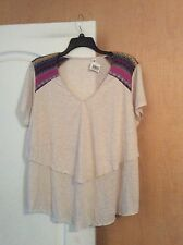 New Cream Color With Multi Color Shoulders Layered Women Top Plus Size 18/20W