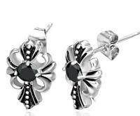 Stainless Steel 2-tone Bali Inspired Fleur De Lis Flower Cross Stud Earrings