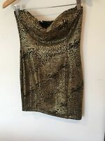 Ladies XXI Black Gold Strapless Short Dress Size M <SW1269