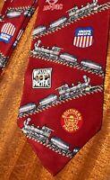Vintage Steam Locomotive Railroad Union Pacific Mens Woven Silk Tie Necktie