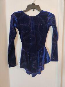 Ladies Motionwear Figure Skating  Dress Dark Blue Size Petite Adult Pre-owned