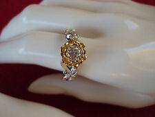 Rose CZ 1cts 6mm platinum and yellow gold ring size 8 DS-4032
