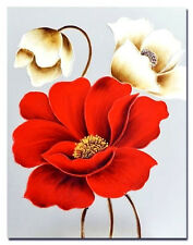Canvas Hand Painted Oil Red & White 3 Poppy Picture Wall Art  Home Decor