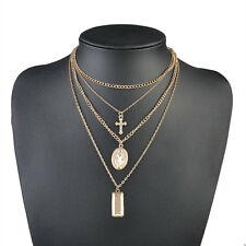 2 Colors Jesus Cross Necklace Multi Layer Chain Triple Charm Drop Pendant Choker Gold