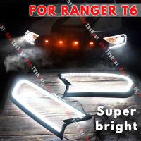 Matte Black Head Light Front Shell Cover For Ford Ranger T6 Wildtrak 2015-  !!