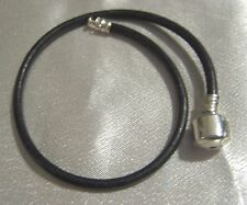 """New, Leather with Sterling Silver ends, European Sliding Bead Bracelet, 9"""""""