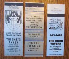PARIS, ILLINOIS: LOT OF 3 DIFFERENT MATCHBOOK MATCHCOVERS -F