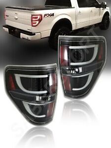 Set of Pair Black Clear V2 LED Taillights for 2009-2014 Ford F-150