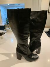 Autograph Insola Leather knee boots Black size 4 / EUR 37 Block Heel