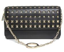 New Valentino Rockstud Black Wallet on Chain Degrade Leather Clutch Bag