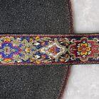 5 yards black brick red metallic gold woven jacquard sewing trim 1