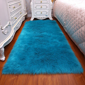Fluffy Rugs Shaggy Anti-Skid Bedroom Area Home Floor Soft Plush Carpet Decor