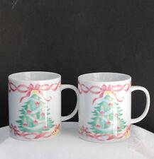 ALBERT KESSLER & CO Set of Two Mugs / Cups Porcelain Holiday w/ Tree Stars Bows