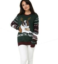 Unisex Green Christmas Knitted Dog Print Jumper Xmas Novelty Sweater