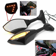 Motorcycle Rearview Side Mirrors With LED Turn Signal Blinker Light For Kawasaki