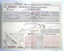 ANCIEN BILLET DE TRAIN PLM PARIS GRENOBLE 1914