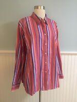 Size 2X Ralph Lauren Red Purple Stripe Button Down Shirt Top Blouse Women's Plus