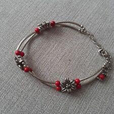 Women-girls- Tibetan 925 Silver Charm Bracelet-Red Coral- New