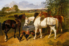 Oil painting frederick herring horses the stableyard with a hunt in the distance