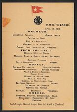 Titanic Last Menu White Star Line Reprint On Original Period 1912 Paper