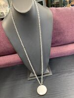 "Vintage Clear Glass Crystal beaded  32""inch drop White Stone pendant necklace"