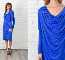 Vintage 80s Blue Cowl Draped Dress Slouchy Wrap Cocktail Party Beaded Small S