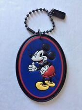 New Coach X Disney Mickey Mouse Blue Oval Leather Hangtag Bag Charm - Limited