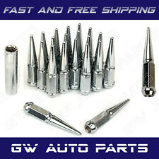 """20 PCs 9/16""""-18 SPIKE CHROME SOLID STEEL LUG NUTS 4.5 INCHES TALL WITH KEY"""