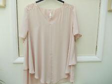 Evans Hip Length V Neck Short Sleeve Tops & Shirts for Women