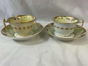 Antique 19th Century Lime Green & Gold Decorated Pair Of Cups & Saucers