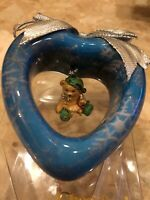 "ENESCO CHERISHED TEDDIES 1996 BEAR HEART BLUE CHRISTMAS ORNAMENT 3"" x 3"" NIB NEW"