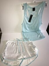 "APT.9 Women's Bridal Satin Lace 2-Piece Pajama Set Tank/Shorts ""CLEAR AQUA""M NWT"