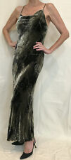 Evening Dress Long Gown Green Velvet Silk Bias Cut Backless Mermaid Sz.8 -10 -12