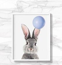 A3 A4 Grey Bunny Rabbit Print Nursery Blue Balloon Wall Art Decor Bedroom