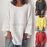 UK Womens Oversize Long Sleeve Tops Pullover O-Neck Casual Loose Shirt Blouse