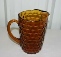 "Vintage Heavy Dark Brown Amber Glass Faceted 8"" Pitcher W/ Handle"
