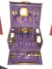 Fine Antique Small Ladies Travel Vanity Case With Complete Set Fittings