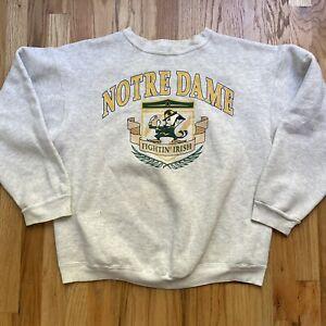 Mens Vintage 90s Notre Dame Fighting Irish Heather Gray Crewneck Sweatshirt Sz L