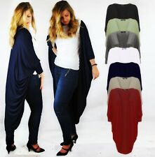 LADIES OPEN DRAPE BATWING CARDIGAN 3/4 SLEEVE STRETCH JERSEY STYLE LONG BACK