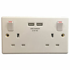 GSM SPY AUDIO BUG IN ELECTRIC MAINS UK DOUBLE WALL SOCKET & 2x USB Phone Charger