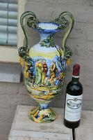 LARGE antique Italian majolica Satyr heads snakes handles hand paint vase