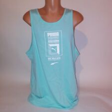 Puma Mens Tank Top XL Light Blue White Sleeveless Logo