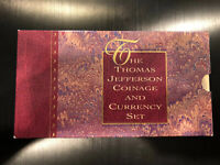 1993 P Thomas Jefferson Coinage and Currency $2 Note TONED 2 Coin Set C23101514A