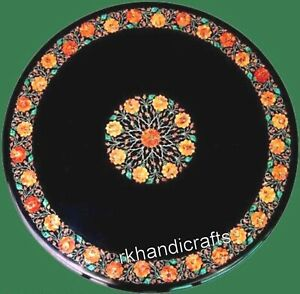 Round Shape Marble Dining Table Top Handmade Utility table with Royal Inlay Art