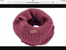 Pikeur Ladies knitted loop neck warmer snood scarf and bobble hat Aubergine Pink