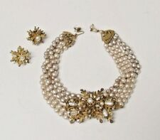 Vintage MIRIAM HASKELL Five Strand Baroque Pearl Oak Leaf Necklace Earrings